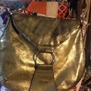 Kate Landry large destressed gold leather hobo bag